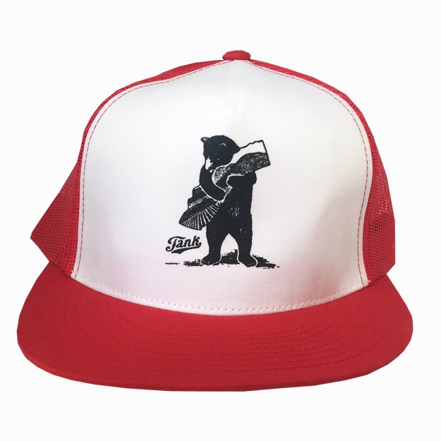 Bear Trucker Hat Red/White Image