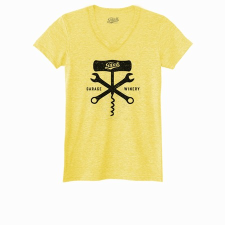 Corkscrew and Wrench Women's V-Neck Yellow Image